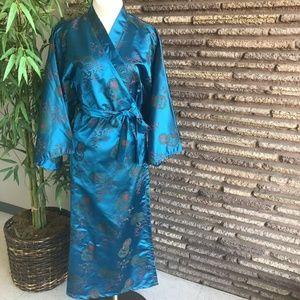 Chinese Vintage Deep Turquoise Brocade Wrap Kimono